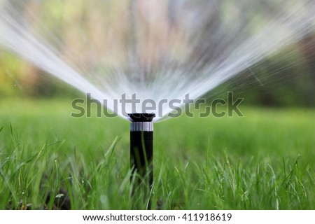 sprinkler of automatic watering - stock photo
