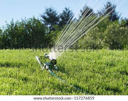 Sprinkler splashing water on grass - stock photo