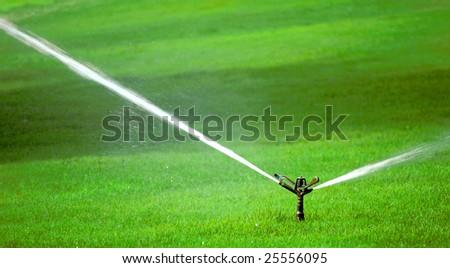 Sprinkler spraying stream of water on lush green grass - stock photo