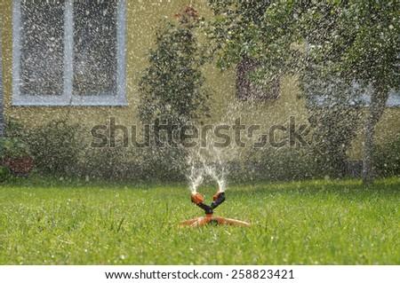 Sprinkler spraying water over green grass - stock photo