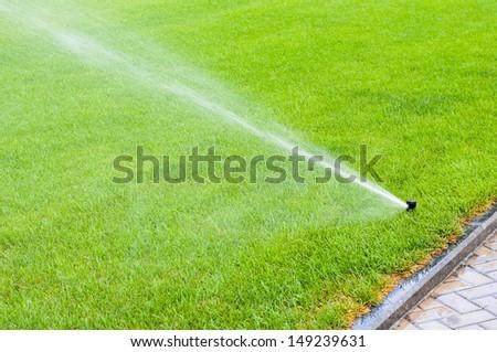 Sprinkler system working on fresh green grass - stock photo