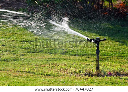 sprinkler watering green lawn at sunny day - stock photo