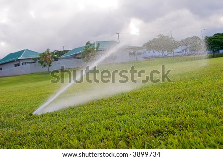 Sprinkler watering the green grass of a on open field - stock photo