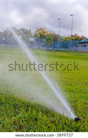 Sprinkler watering the green grass of a on open field