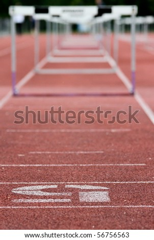 sprint hurdles - stock photo