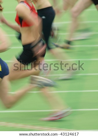 sprint in track and field - stock photo