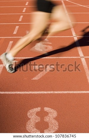Sprinter finishes the race - stock photo
