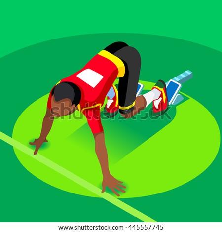 Sprinter Runner Athlete at Starting Line Athletics Race Start Summer Games Icon Set.3D Flat Isometric Sport of Athletics Black Man Runner Athlete at Starting Blocks.Sport Infographic Image - stock photo