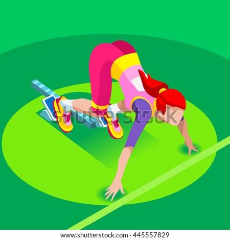 Sprinter Runner Athlete at Starting Line Athletics Race Start 2016 Summer Games Icon Set.3D Flat Isometric Sport of Athletics Runner Athlete at Starting Blocks.Sports olympics Infographic Image - stock photo