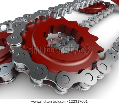 Sprocket with chain - stock photo