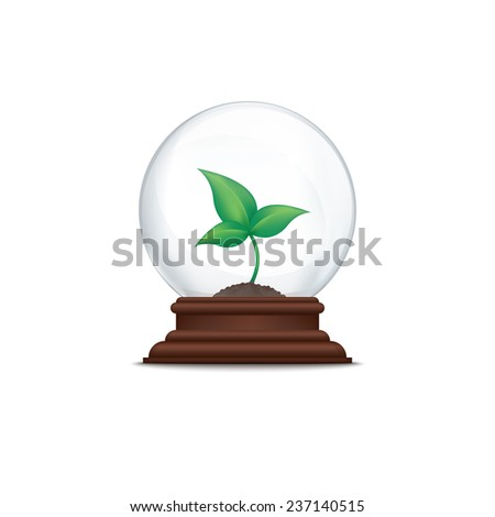 Sprout in glass ball - stock photo