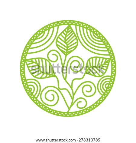 Sprout round pattern green design element illustration - stock photo