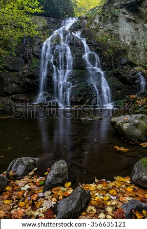 Spruce Flats falls and autumn leaves in the Great Smoky Mountains National Park in Tennessee - stock photo