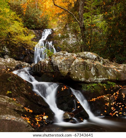 Spruce Flats Falls, smoky mountains national park, autumn colors. - stock photo