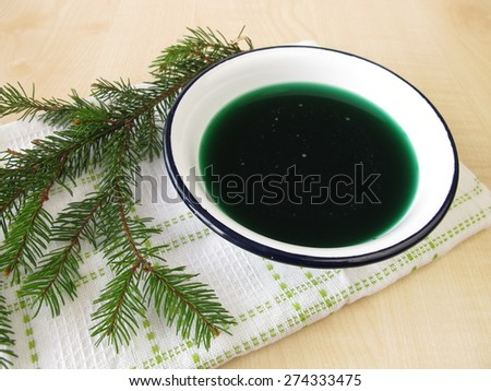 Spruce needles bath  - stock photo