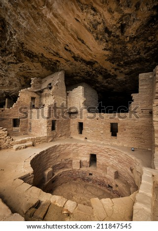 Spruce Tree House at Mesa Verde National Park in Mesa Verde, Colorado  - stock photo