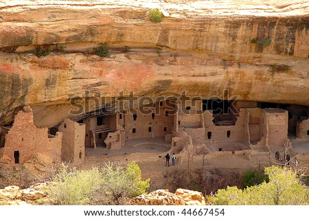 Spruce Tree house cliff dwelling native american indian ruins - stock photo