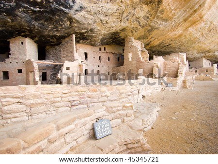 spruce tree house native american indian cliff dwelling ruins - stock photo