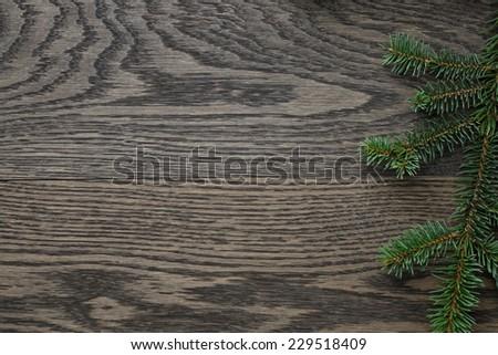 spruce twig on oak table, christmas background - stock photo