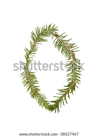 Spruce twigs forming the letter 'O' isolated on white - stock photo