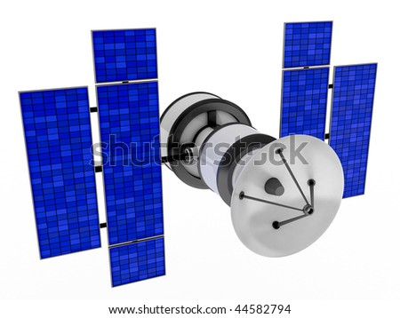 Sputnik on white background (done in 3d, isolated) - stock photo