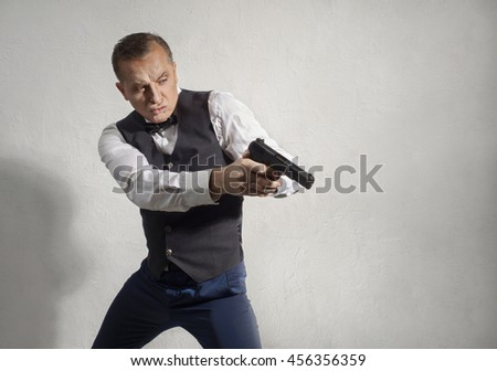 Spy agent with a gun in his hands