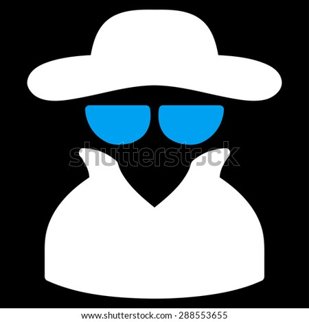 Spy icon from Business Bicolor Set. Glyph style: bicolor flat symbol, blue and white colors, rounded angles, black background. - stock photo