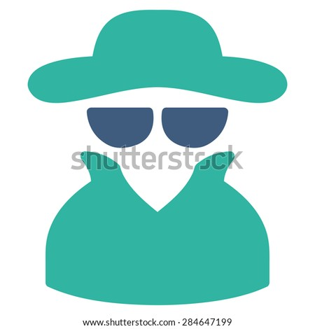 Spy icon from Business Bicolor Set. Vector style: bicolor flat symbol, cobalt and cyan colors, rounded angles, white background. - stock photo
