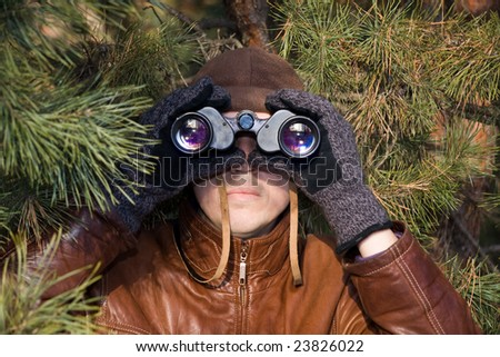 spy looking in binoculars from pine branch - stock photo