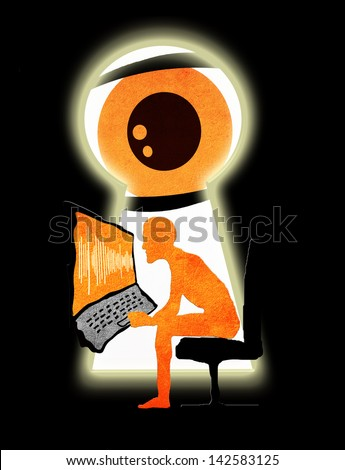 spy  through the keyhole - stock photo