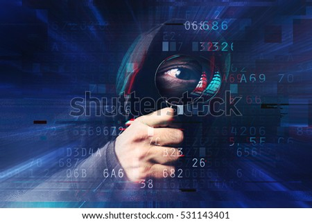 Spyware and ransomware concept with digital glitch effect, spooky hooded hacker with magnifying glass stealing online identity and hacking personal web accounts