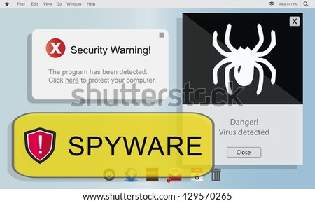 Spyware Computer Hacker Virus Malware Concept - stock photo