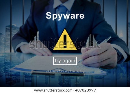 Spyware Virus Firewall Network Security System Concept - stock photo