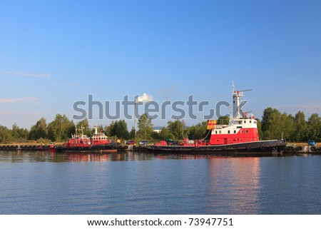 Squad fireboat in port Gdansk, Poland. - stock photo