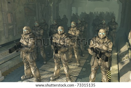 Squad of space marines waiting to disembark from a troop carrier dropship, 3d digitally rendered illustration