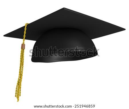 Square academic mortar board, or graduation cap, worn by college grads - stock photo
