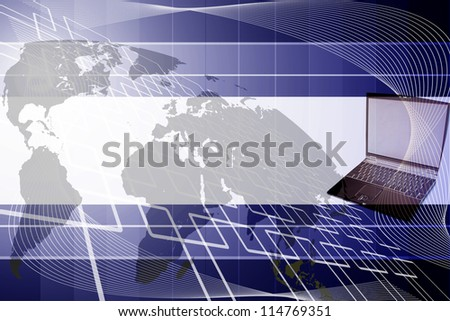 Square Background and laptop. - stock photo