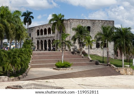 Square before House of Christopher Columb Santo Domingo Dominica - stock photo