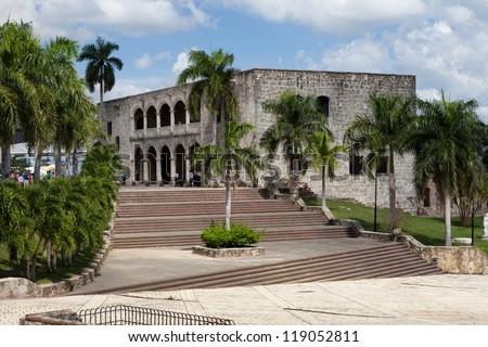 Square before House of Christopher Columb Santo Domingo Dominica - stock photo