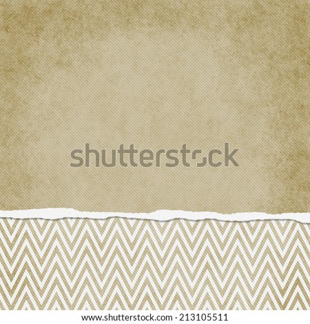 Square Beige and White Zigzag Chevron Torn Grunge Textured Background with copy space at top