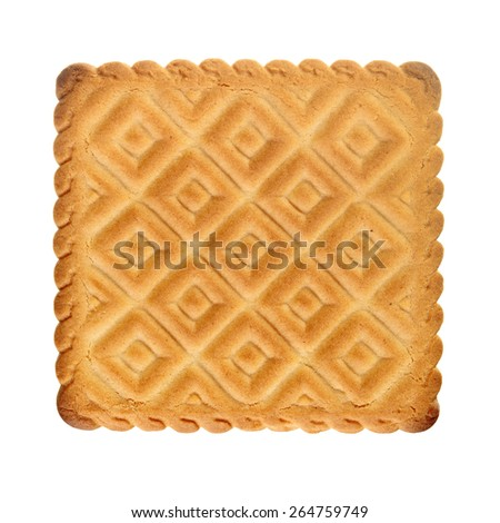 Square biscuit isolated over white - stock photo