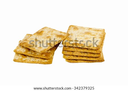 square biscuit on isolated background - stock photo