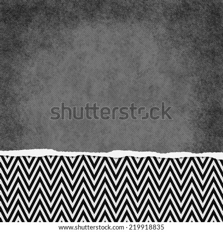 Square Black and White Zigzag Chevron Torn Grunge Textured Background with copy space at top - stock photo
