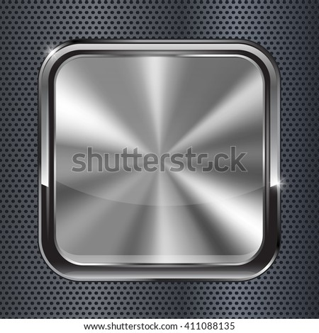 Square black metallic button. Illustration on metal background. Raster version - stock photo