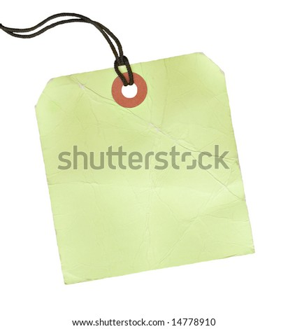 Square blank lime green tag with a black cord. - stock photo