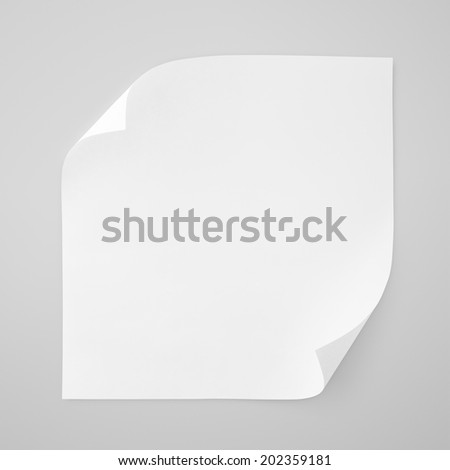 Square blank sheet of white paper on gray background with clipping path - stock photo