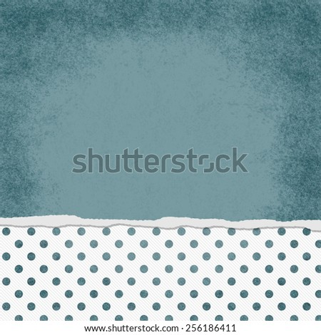 Square Blue and White Polka Dot Torn Grunge Textured Background with copy space at top - stock photo