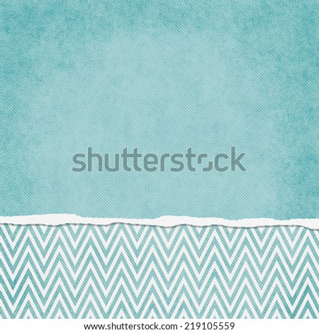 Square Blue and White Zigzag Chevron Torn Grunge Textured Background with copy space at top - stock photo