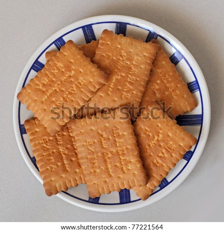 square brown biscuits on a plate - stock photo