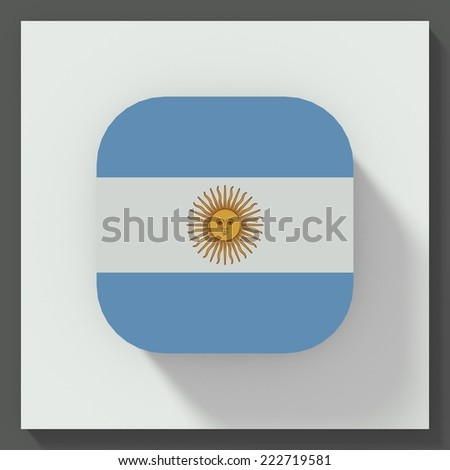 square button flat design with flag of Argentina - stock photo
